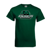 Dark Green T Shirt-Binghamton University Bearcats Official Logo - Distressed