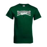 Dark Green T Shirt-Crossed Bats Baseball Design