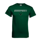 Dark Green T Shirt-Basketball Stacked Design