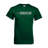 Dark Green T Shirt-Wrestling Helmet Design
