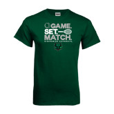 Dark Green T Shirt-Game Set Match Tennis Design