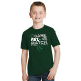 Youth Dark Green T Shirt-Game Set Match Tennis Design