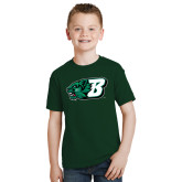 Youth Dark Green T Shirt-Bearcat Head w/ B