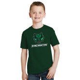 Youth Dark Green T Shirt-Bearcat Head w/ Binghamton