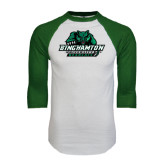 White/Dark Green Raglan Baseball T-Shirt-Binghamton University Bearcats Official Logo