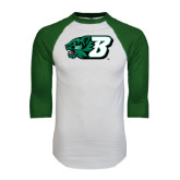 White/Dark Green Raglan Baseball T-Shirt-Bearcat Head w/ B