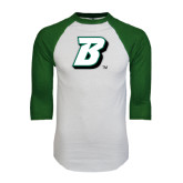 White/Dark Green Raglan Baseball T-Shirt-B
