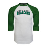 White/Dark Green Raglan Baseball T-Shirt-Arched Binghamton University Bearcats