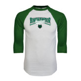 White/Dark Green Raglan Baseball T-Shirt-Crossed Bats Baseball Design