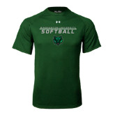 Under Armour Dark Green Tech Tee-Softball Stacked Design