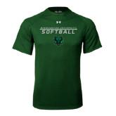 Under Armour Dark Green Tech Tee-Softball Stacked Design
