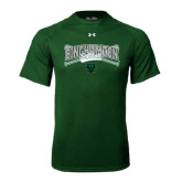 Under Armour Dark Green Tech Tee-Softball Crossed Bats Design