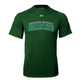 Under Armour Dark Green Tech Tee-Arched Binghamton University Bearcats