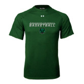 Under Armour Dark Green Tech Tee-Basketball Stacked Design