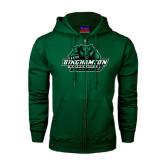 Dark Green Fleece Full Zip Hood-Binghamton University Bearcats Official Logo
