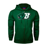 Dark Green Fleece Full Zip Hood-Bearcat Head w/ B