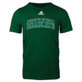 Adidas Dark Green Logo T Shirt-Arched Binghamton University Bearcats