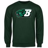 Dark Green Fleece Crew-Bearcat Head w/ B