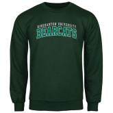 Dark Green Fleece Crew-Arched Binghamton University Bearcats