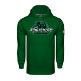 Under Armour Dark Green Performance Sweats Team Hoodie-Binghamton University Bearcats Official Logo