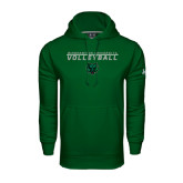 Under Armour Dark Green Performance Sweats Team Hood-Volleyball Stacked Design