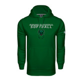Under Armour Dark Green Performance Sweats Team Hoodie-Softball Stacked Design