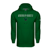 Under Armour Dark Green Performance Sweats Team Hoodie-Basketball Stacked Design