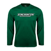 Performance Dark Green Longsleeve Shirt-Binghamton University Flat