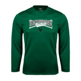 Performance Dark Green Longsleeve Shirt-Crossed Bats Baseball Design