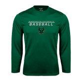 Performance Dark Green Longsleeve Shirt-Baseball Stacked Design