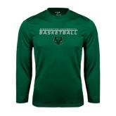 Syntrel Performance Dark Green Longsleeve Shirt-Basketball Stacked Design