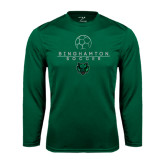 Performance Dark Green Longsleeve Shirt-Soccer Ball Design