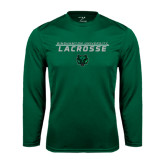 Performance Dark Green Longsleeve Shirt-Lacrosse Stacked Design