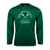 Performance Dark Green Longsleeve Shirt-Lacrosse Crossed Sticks Design