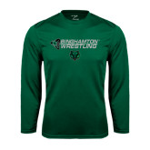 Performance Dark Green Longsleeve Shirt-Wrestling Helmet Design