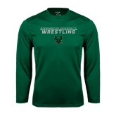 Performance Dark Green Longsleeve Shirt-Wrestling Stacked Design