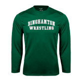 Syntrel Performance Dark Green Longsleeve Shirt-Arched Wrestling Design