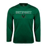 Performance Dark Green Longsleeve Shirt-Volleyball Stacked Design