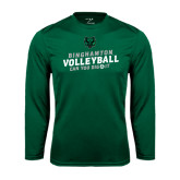 Performance Dark Green Longsleeve Shirt-Can You Dig It - Volleyball Design