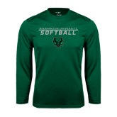 Performance Dark Green Longsleeve Shirt-Softball Stacked Design