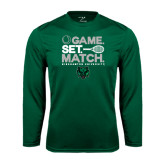 Performance Dark Green Longsleeve Shirt-Game Set Match Tennis Design
