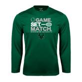 Syntrel Performance Dark Green Longsleeve Shirt-Game Set Match Tennis Design
