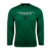 Performance Dark Green Longsleeve Shirt-Tennis Stacked Design