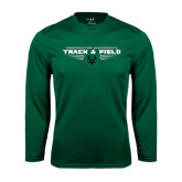 Performance Dark Green Longsleeve Shirt-Track and Field Design