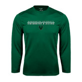 Performance Dark Green Longsleeve Shirt-Swim and Dive Stacked Design