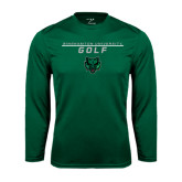 Performance Dark Green Longsleeve Shirt-Golf Stacked Design