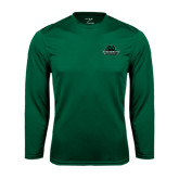 Performance Dark Green Longsleeve Shirt-Binghamton University Bearcats Official Logo