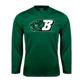 Performance Dark Green Longsleeve Shirt-Bearcat Head w/ B