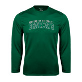 Performance Dark Green Longsleeve Shirt-Arched Binghamton University Bearcats