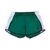 Ladies Dark Green/White Team Short-Binghamton University Bearcats Official Logo